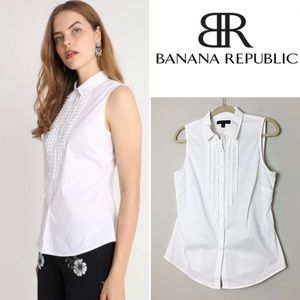 BANANA REPUBLIC Riley Ruffle Bib Front Top Size 10